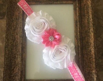 Pink and White Lace Headband