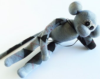 Sock Monkey-Argyle-Black, Grey, Burgundy-Handmade-Monkey-Plushie-Plush-Stuffed-Animal-Cuddly