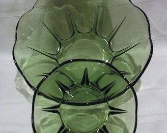 Swedish Modern Chip and dip or Dessert Set -Green pattern by Anchor Hocking