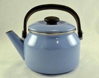 Blue Enamelware Teapot or Graniteware Tea Kettle - Wood Stove Ready