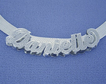 Silver 3D Personalized Name Necklace Slider & 7 mm Herringbone Chain SND92