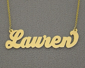 10K or 14K Yellow or White Solid Gold Personalized Lauren Conrad Name Necklace NN12