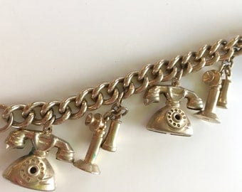 Antique Vintage Telephone Charm Bracelet Goldtone Jewelry