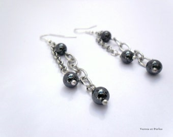 Earrings black and silver pendants