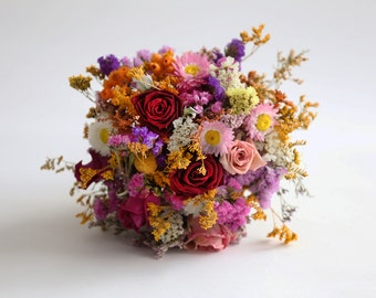 Unique and Fragrant Dried Flowers Bouquet, Handmade Posy Wedding Bouquet.