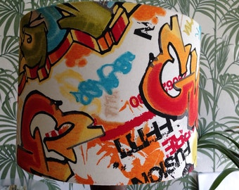 Graffiti lampshade, handmade in any size, great for a teenager!