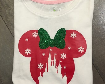 Christmas at Disney Minnie mouse inspired bodysuit with personilization optional