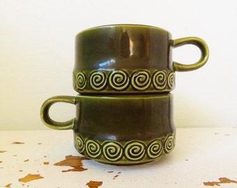 Retro Pair of Mid Century Modern Large Avocado Green Soup Mugs Imported by Joseph Magnin Japan