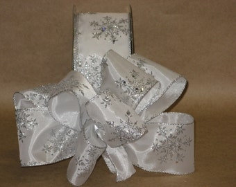 """New 5 yards White & Silver Snowflakes Holiday Ribbon 2-1/2"""" Ribbon, Wired Christmas Ribbon, Snowflake Ribbon"""