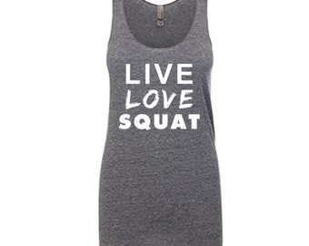Women's Tank Top Workout Racerback Ladies Tank Live Love Squat