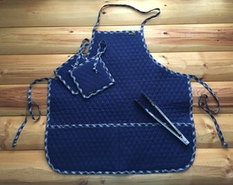 Unique Quilted Fabric Reversible Apron with Pockets in Blue