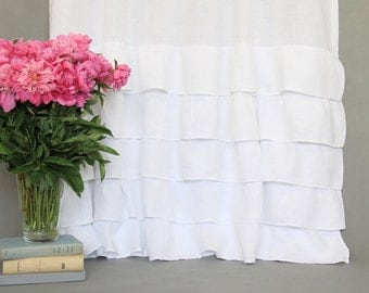 linen ruffled curtain panel / curtain panel with ruffles / 100% linen / sheer curtain / white linen curtain