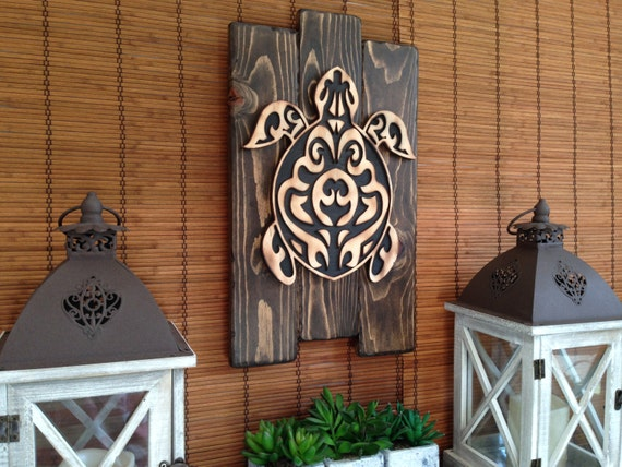 Wall Art Hawaiian Sea Turtle Home Decor Rustic Decor Wood