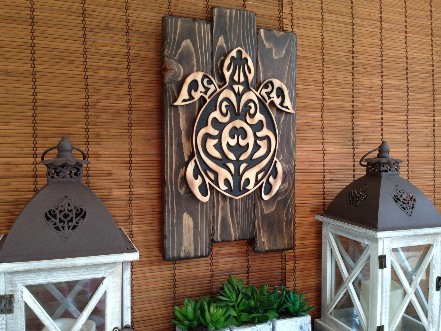 Wall art hawaiian sea turtle home decor rustic decor wood for Hawaiian home decorations