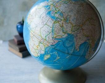 "Vibrant Blue 12"" World Globe on Bronze Metal Base Rand McNally, 12"" Blue World Globe,  Vintage Rand McNally Globe, World Globe"
