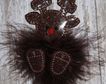 Reindeer Marabou Puff Embroidery Machine Design for the 4x4 hoop