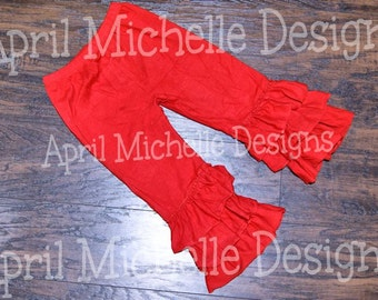 Red Ruffle Pants, Ready to Ship, Triple Ruffle Pants, Knit Ruffle Pants, Christmas Pants, Valentines Day Pants, Toddler Ruffle Pants