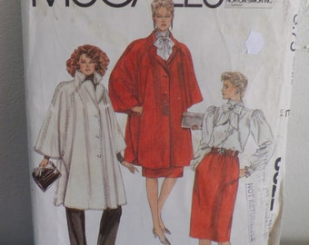 Mc Call's Poncho / Cape / Blouse / Skirt and Pants Pattern 8322, size 8, uncut.