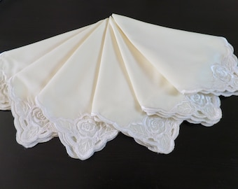 6 Large Vintage Cream Voile Embroidered Napkins.