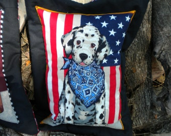 Pillow - Born In the USA Dalmation Puppy Quilted Pillow - #QP-007