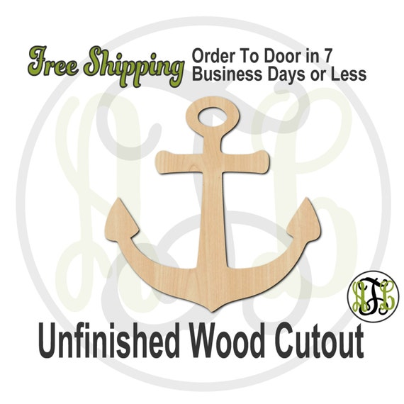 Anchor 4 - 50012- Cutout, unfinished, wood cutout, wood craft, laser cut shape, wood cut out, Door Hanger, wooden, ready to paint