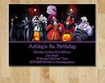 Disney Villain Halloween Party / Birthday Party Invitation - Printable - Villains - Halloween / Birthday Party Invite - Digital File