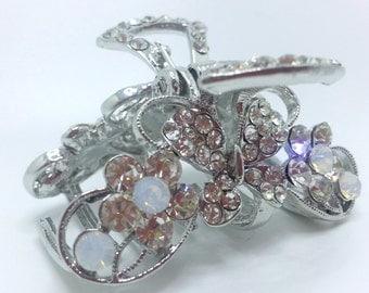New Small Silver Crystal Clear Austrian Crystal CZ & Rhinestone  1'' Hair Claw Clip