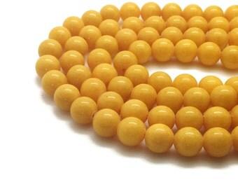 Fil Perles Jade Mashan Jaune 4∼10mm Perle Jade Jaune Perle Jaune Pierre Jaune Jade Ronde Jaune Perles pour Bijoux Grossiste Perles