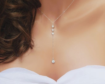 Bridal Jewelry, Diamond Lariat, CZ Lariat Y Necklace with Matching Earrings, Available in Sterling Silver or Gold Filled [508]