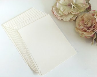 Deckled edge Card - 15cm by 20cm Blank Wedding Invitation 310gsm CREAM Beautiful premium (Made in Europe) Pure Invites Smaller than A5 size