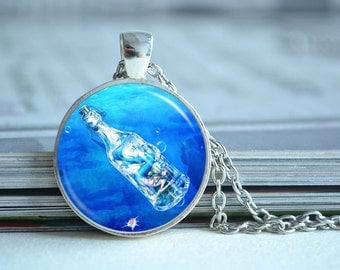 Mermaid necklace,mermaid in bottle necklace,Drift bottle,blue ocean marine glass dome photo pendant,picture jewelry,cabochon gift (XL106)