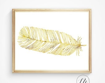 Gold feather art, wall art feather, printable feather art, gold printable art, gold wall art, feather art, feather print, gold feather