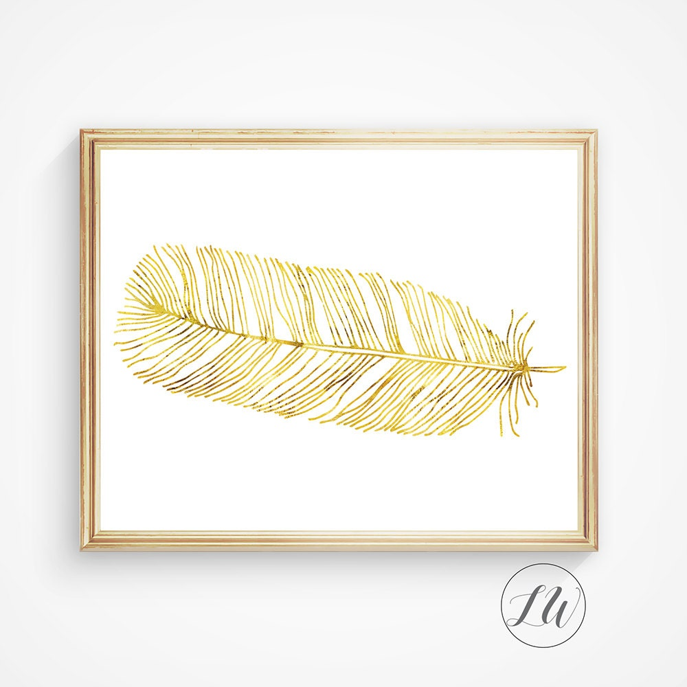 Gold feather art wall art feather printable feather art for Gold wall art