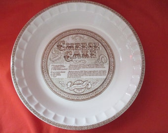 Vintage Royal China by Jeannette Corp., Cheesecake Recipe Pie Plate. 1970's