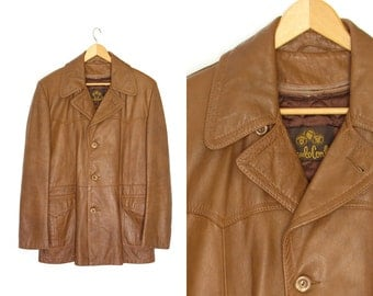 Vintage brown leather coat. Button up. Leather mens coat. Distressed leather coat. Paulo Conti.