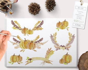 fall clipart, autumn clipart, pumpkin clip art, watercolor fall clipart watercolor pumpkin clipart, fall wreath clipart fall wreath graphics