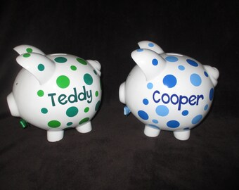 2 Personalized Piggy Banks - This listing is for 2 banks - quanity 1