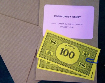 Monopoly Card Community Chest Bank Error. Handmade. Friend. Just Because.