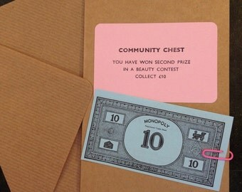 Monopoly Card.Community Chest Beauty Contest. Handmade