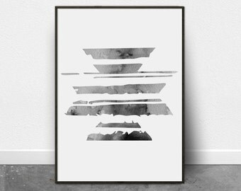Abstract Art, Aztec Decor, Printable Art, Black and White Prints, Minimalist, Poster, Wall Art Prints, Scandinavian Modern, Watercolor Print