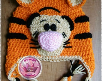 Tiger Winnie the Pooh Crochet Hat Made with Soft yarn