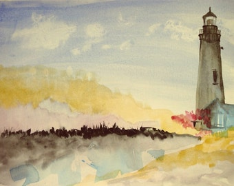 Beautiful minimalist lighthouse painting ORIGINAL