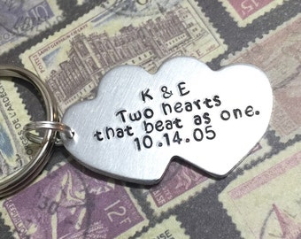 Two Hearts That Beat As One Hand Stamped Keychain, Personalized Valentine's Day Gift For Her, Anniversary, Valentine's Day Gift For Him