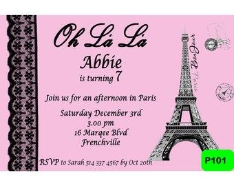 Paris Invitation - Digital Personalized Invite - French Paris Invite P101
