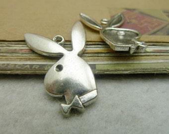 20 Large Rabbit Charms Antique Silver Tone  - DYS7136