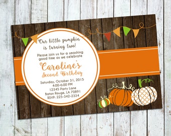 Pumpkin Birthday Invite