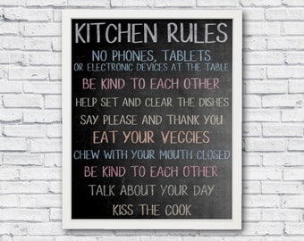 Kitchen rules, kitchen sign, printable poster, chalkboard poster, chalkboard print, kitchen poster, kitchen print, kitchen wall art, wall ar