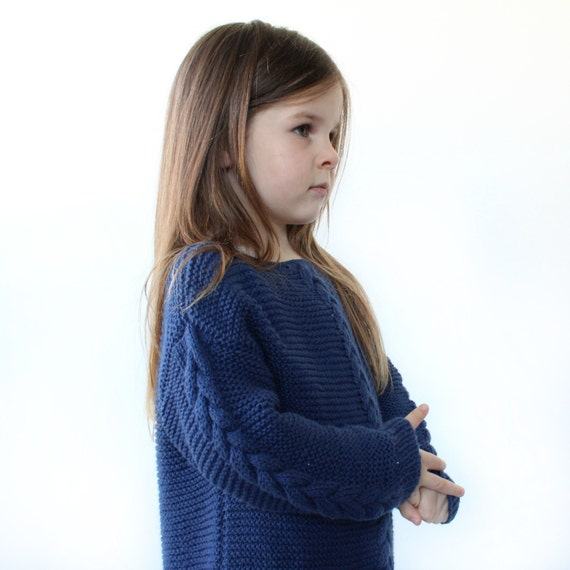 Childrens Cable Sweater PDF Knitting Pattern - Boxy, Drop Sleeve, Braide...