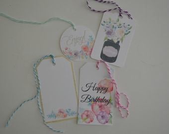The Floral Collection Gift Tags - Assorted Gift Tags - Everyday Gift Tags - Set of 12
