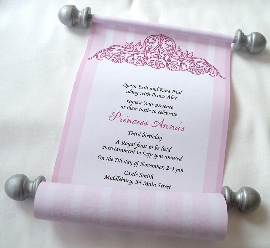 Cinderella Princess Birthday Party Invitation Scrolls in Pink – Princess Scroll Birthday Invitations